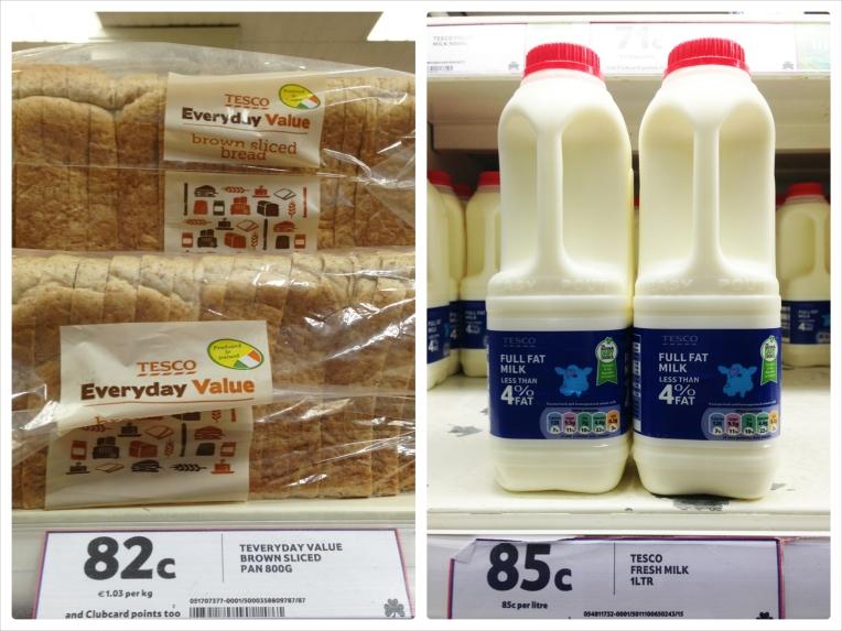 Preço Pao leite supermercado Tesco