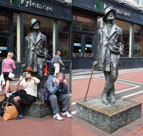 Estátua de James Joyce no Centro de Dublin. Tive que expulsar os dois que achavam que Joyce era banco para poder tirar uma foto digna do autor de Ulisses